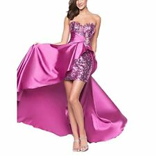 Elegant Sexy Sweetheart Neck Front Short Long Back Prom Evening Gown Party Dress