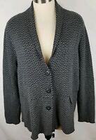 CJ Banks Size 1X Gray Black Zig Zag Button Up Womens Cardigan Sweater New