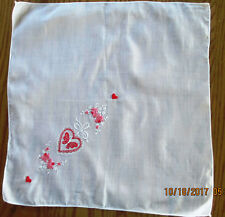 Vintage White Hankie Embroiderd Valentine Day Hearts Roses Ribbon l 1960s