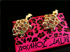 Betsey Johnson Fashion Jewelry Cute Crystal Rhinestone Turtle Earrings
