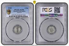 DANISH WEST INDIES - SILVER 2 SKILLING COIN 1848 YEAR KM#19 GRADING PCGS AU50