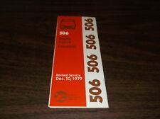 December 1979 Chicago Rta Route 506 South Joliet Bus Schedule