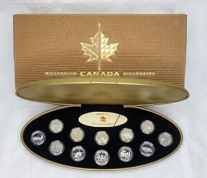 Canada 1999 Millennium 25 Cent Sterling Silver Proof 12 Coin Set