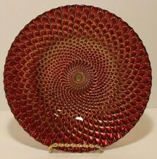 Beautiful Red and Gold Display Plate with Swirling Design and Silver Back 8.75""