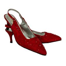 Pumps Rot bestickt High Heel 6 cm  37, Abendschuhe  Slingback Riemen Seide