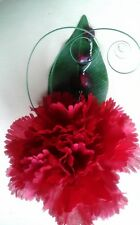 2 NEW RED CARNATION/CRYSTAL/GRASS.BUTTONHOLES.WEDDING,.PARTY,GUESTS,OCC.HANDMADE