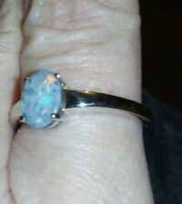 #3 GORGEOUS 100% Genuine CRYSTAL OPAL(BOULDER) ON IRONSTONE STERLING SILVER RING