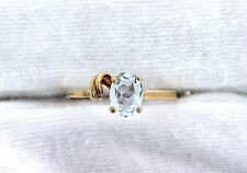 10Kt  REAL Yellow Gold Oval Brazilian Light Blue Aquamarine Gemstone Ring Size 7