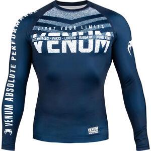 Venum Signature Long Sleeve Compression Rashguard - Navy Blue/White