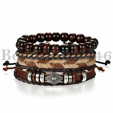 4Pcs Wooden Beaded Bracelet Leather Braided Cross Bangle for Men and Women