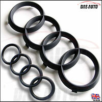 MATTE BLACK GRILL & REAR BADGE EMBLEM RINGS AUDI a3 a4 a1 a5 s3 quattro rs gms