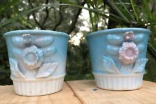 Vntge Pr Trico Japan Blue Planters Pottery Dimensional Flower Design Handpainted