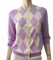 J CREW Lilac Purple and White Argyle Cashmere Cardigan M BRAND NEW WITH TAGS