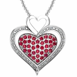 Sterling Silver Ruby Triple Heart Sterling Silver 0.70 CTTW Necklace with Chain