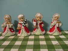 REDUCED ! Set of 4 Vintage Lefton Christmas Angel Bell Porcelain Figurines