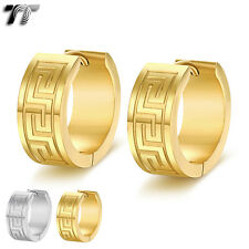 TT Stainless Steel Thick Greek Key Hoop Earrings 13mm (EH105) NEW Arrival
