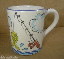 Starbucks Deruta Sberna Italy Ceramic Handpainted Fishing Coffee Tea Mug 16oz