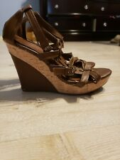 Sbicca Womens Brown Wedge Sandals Size 9