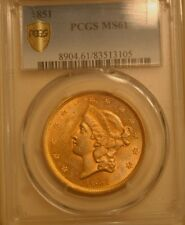 1851 $20 GOLD DOUBLE EAGLE PCGS SECURE MS-61 EXTREMELY NICE EYE APPEAL FOR MS-61