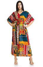 New Ikat  Indian Kaftan Boho Hippy Plus Size Women Dress Caftan Beach CoverUp