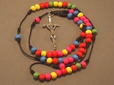 Rosary Necklace MULTICOLOR 6mm Wood Bead Detail Silver Tone Crucifix Low Stock!!