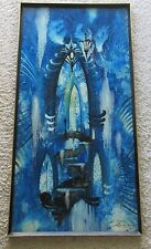 FACEY PAINTING 1970 ABSTRACT SURREAL SPACE TRANQUIL EXPRESSIONIST TEMPLE ACID