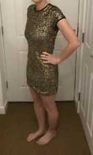 Mango Sparkly Gold Sequin Christmas New Year Party Dress Size XS