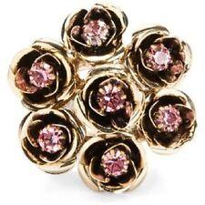 Betsey Johnson VINTAGE Pink Crystal Cluster Flower Bouquet Goldtone Stretch Ring