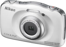 Nikon COOLPIX S33 13.2MP Digital Camera Waterproof - White - Play Button Faulty