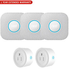 Google Nest Protect Smoke and CO Alarm, Battery, White (3-Pack) w/ Warranty Bund