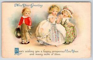 Clapsaddle New Year~Cute Kids~Shy Boy with Mistletoe~Prim Proper Girls Run~WOLF