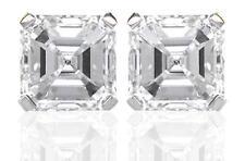 Diamond Solitaire Studs: 1ct Certified D IF VG Asscher Cut Diamonds in Platinum