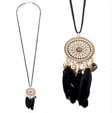New Forever 21 dream catcher black feather filigree pendant rhinestone necklace