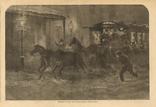 Horses, Street Car Coach, Stuck In The Snow, Vintage, 1872 Antique Art Print,