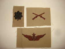 Set Of 3 Unused US Army Collar Patches: LT COLONEL Rank + INFANTRY + AIR WING