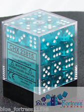 CHESSEX TRANSLUCENT 12mm 36 D6 TEAL WITH WHITE DICE D6 DICE BLOCK MTG RPG