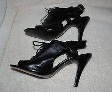 """Nine West Heathers~Black Leather Peep Toe Oxford Pump~3 3/4"""" heel~Size 7.5 B~NIB"""