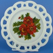 Hand Painted Red Flowers Milk Glass Pierced Rim Plate