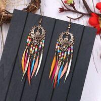 Handmade Boho Ethnic Rainbow Bead Feather Tassels Dangle Drop Earrings Jewelry