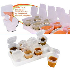 8pcs Baby Kids Weaning Food Freezing Cubes with Tray Pots Storage Containers Box