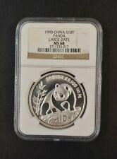China 1990 Large Date 10 Yuan Silver Panda NGC MS 68 .999 Silver 1oz