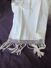 Antique Italian Linen Damask Bath show Kitchen Towel Vintage new Fringe Cream