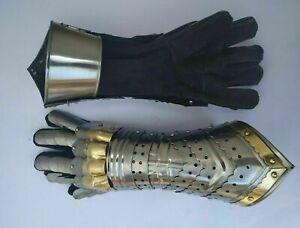 Gauntlet Gloves Armor Pair Handmade Brass Accents Medieval Knight Crusader Steel