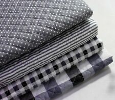 Grey Cotton Blend Ready quilted Fabric Pre-quilted padded Polka dot check JQ46+