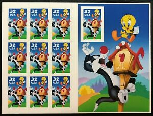 Scott #3205 - SYLVESTOR & TWEETY LOONY TUNES IMPERFORATE - Full Sheet - Mint NH