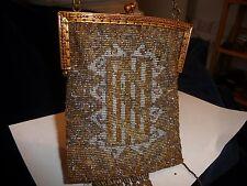 #419 vtg antique ART DECO  gold & silver tone micro metal ? beads beaded purse