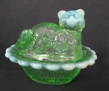 MOSSER GREEN OPAL GLASS CAT ON BASKET SALT CELLAR TRINKET RING PILL HOLDER