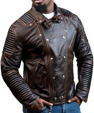Men's Biker Distressed Brown Retro Leather Motorcycle Genuine Slim Fit Jacket