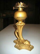 "Antique Figural Cornucopia to Rams Head Cast Iron Oil lamp Table 9 1/4"""