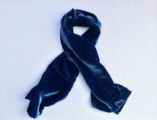 """Silk Velvet Scarf in LAPIS BLUE Handmade 12x42"""""""